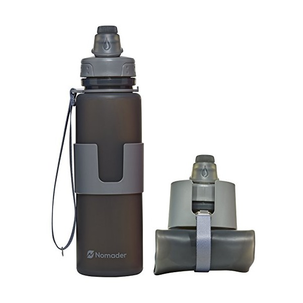 Nomader BPA Free Collapsible Sports Water Bottle - Foldable with Reusable Leak Proof Twist Cap for Gym Travel Hiking Camping and Outdoors - 22 Ounce (Cool Gray)