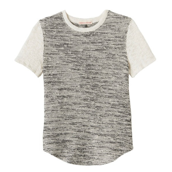 Rebecca Taylor Short Sleeve Tweed Top, Black/Cream
