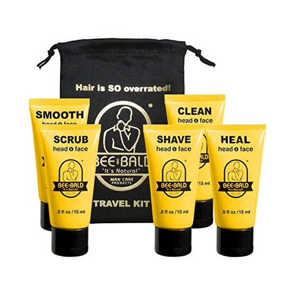 Bee Bald 5 Piece Daily Skin Care Regimen Travel Kit