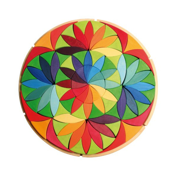 Grimm's Giant Circle Flower Mandala Wooden Creative Puzzle of 100 Blocks with Storage Tray (19½-inch Diameter)