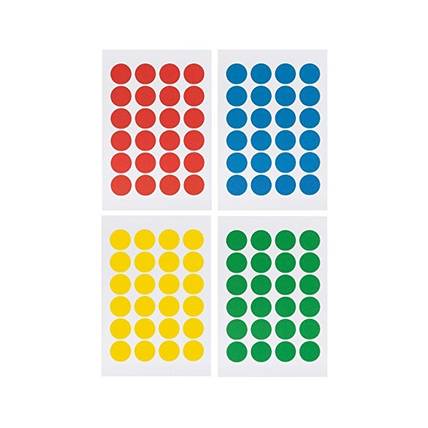 "Saurus Pack of 2016 Round Color Coding Dot Labels, Multicolored, Red, Blue, Yellow, Green, Pack of 2016, 0.75 Inches, 4"" X 6"" Sheet, Same As Avery 5472"