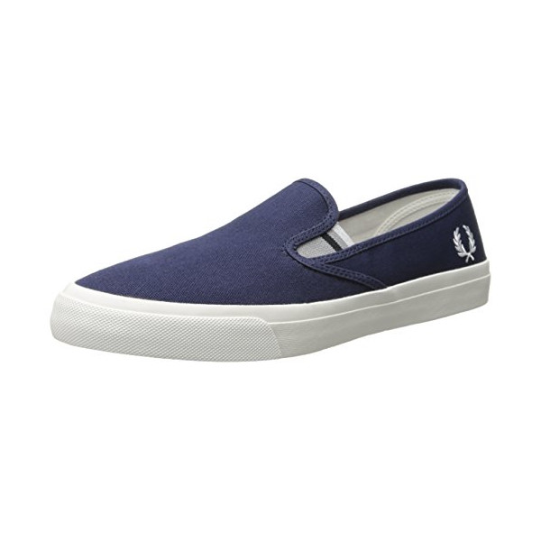 Fred Perry Men's Turner Slip On Canvas Sneaker, Carbon Blue, 7 UK/8 M US