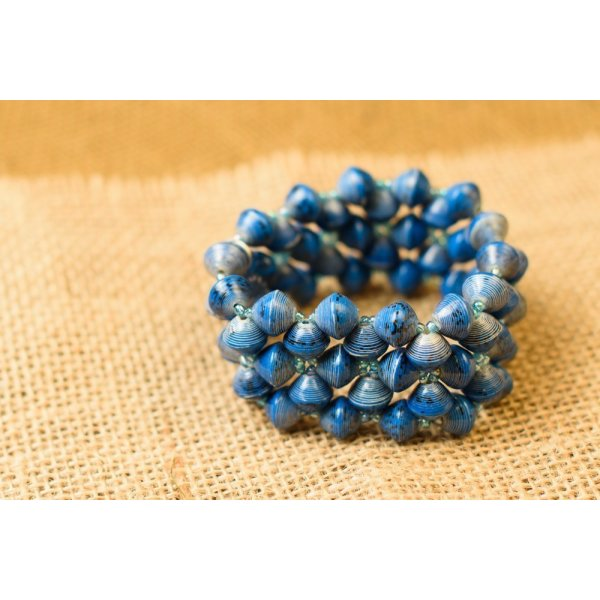 Fair Trade Imara Cuff Bracelet - Blue- BeadforLife Paper Jewelry from Uganda