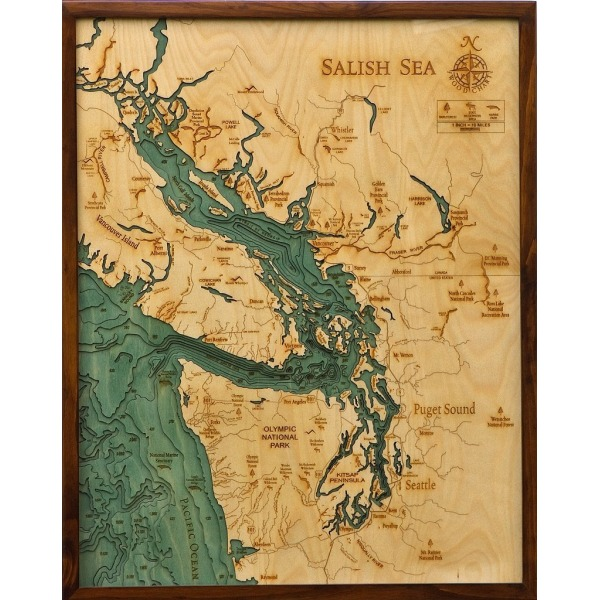 "THE SALISH SEA, WA 24.5"" x 31"", Laser-Cut 3-Dimensional Wood Chart / Lake Art Map"