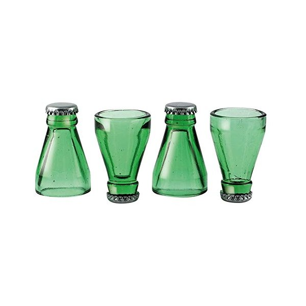 (Set of 4) Bottle Top Shot Glasses - Made From Real Recycled Green Bottles