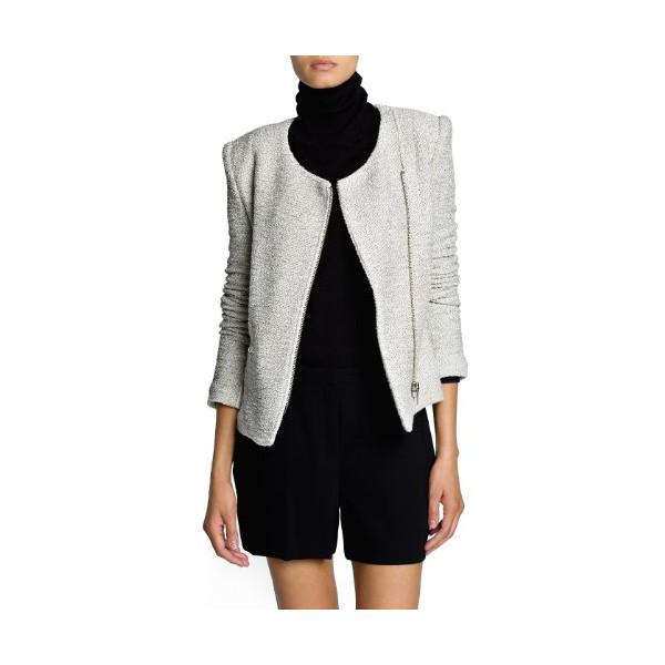 Mango Women's Biker Style Bouclé Jacket, Neutral, L