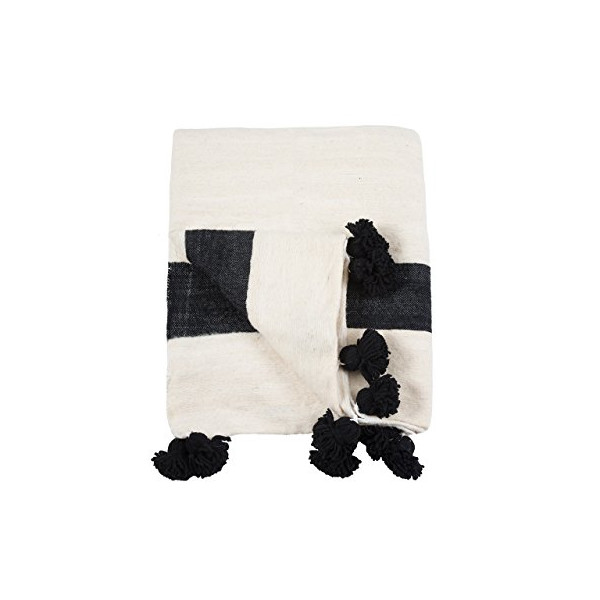 Madame Noire. Moroccan Pom Pom Blanket Throw, Quilt, Bedding, Wool. Small (59 x 59 inches / 1.5 x 1.5 m)