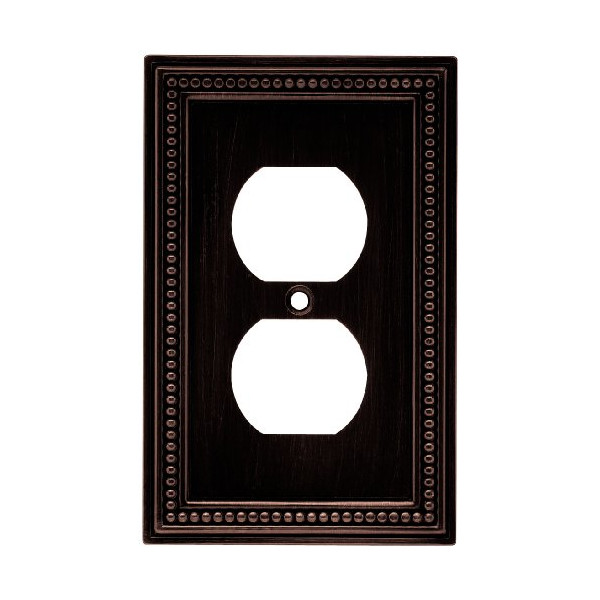 Brainerd 64410 Beaded Single Duplex Wall Plate / Switch Plate / Cover, Venetian Bronze