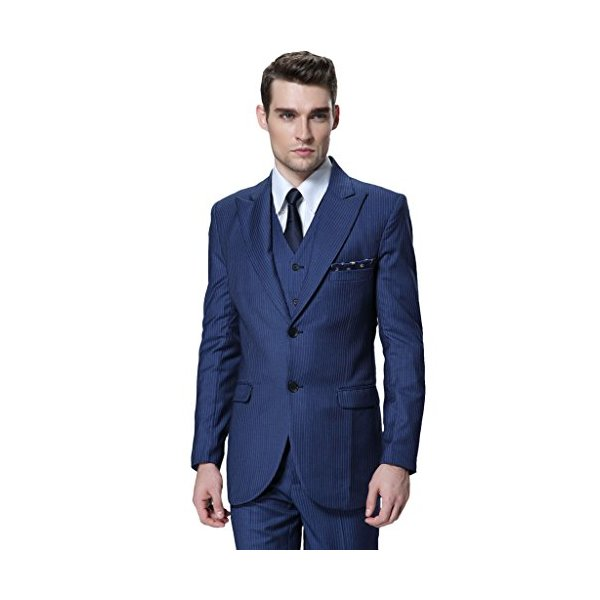 CMDC Men's 3 Pieces Striped V-Neck Wedding Event Jacket Suit & Pants D163?Blue,44 Long?