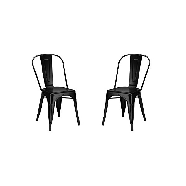 Poly and Bark Tolix Style Bistro A Dining Side Chair, Black, Set of 2