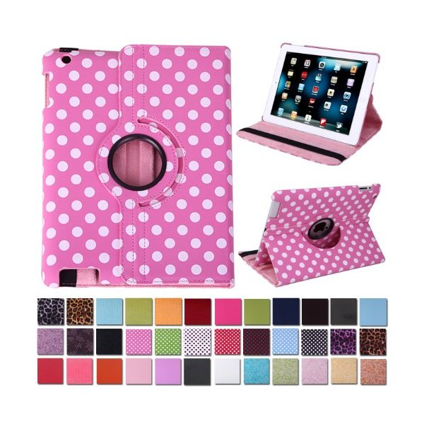 HDE Leather Rotating Leather Folding Folio Case Cover & Stand for iPad 2/3/4 Tablet (Pink & White Polka Dot)