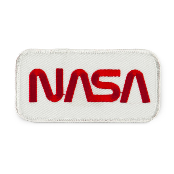 NASA Logo Embroidered Patch, White and Red