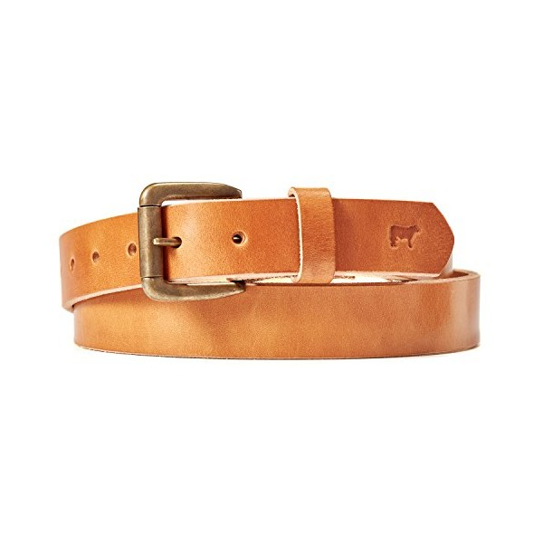 Will Leather Goods Oregon Trail Leather Belt, Tan, 13 oz, Brass Roller Buckle, 34 inches