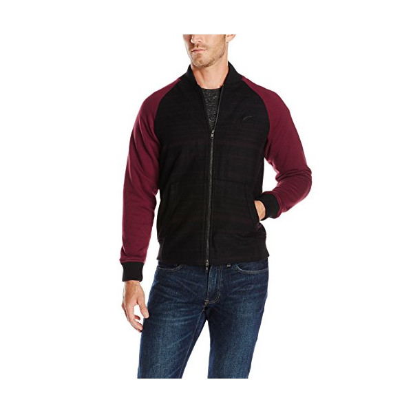PUBLISH BRAND INC. Men's Blitz Raglan Sleeve Bomber Jacket, Maroon, 3X-Large