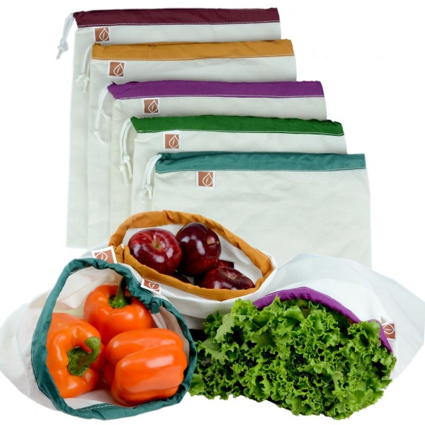 "Eco Friendly Washable and Reusable Produce Bags - Soft Premium Lightweight Cotton Muslin Canvas Large - 12"" X 14"" - Set of 5 (Red, Yellow, Green, Blue, Purple) 