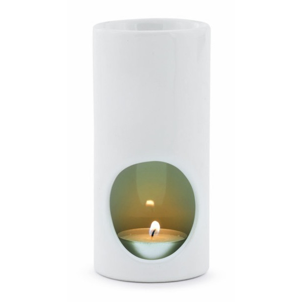 Ceramic Tea Light Oil Warmer, White