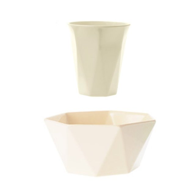 Stone Geometric Cup and Bowl, Set of 2
