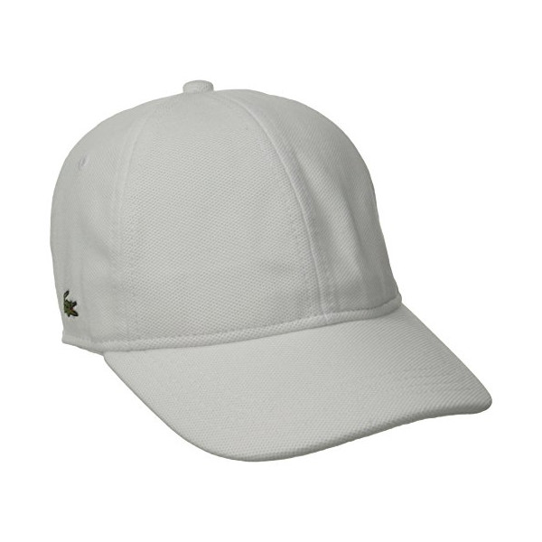 Lacoste Men's Pique Cotton Cap, White, Large