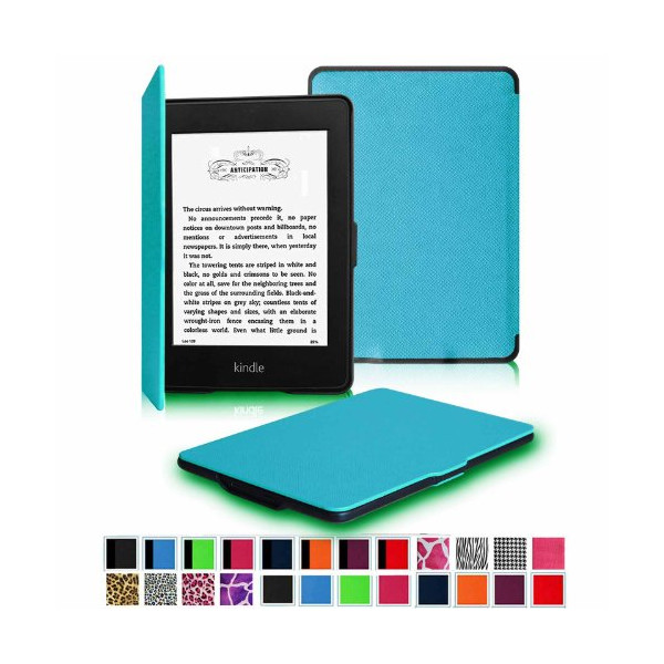 "Fintie Kindle Paperwhite SmartShell Case - The Thinnest and Lightest Leather Cover for Amazon Kindle Paperwhite (Both 2012 and 2013 Versions with 6"" Display and Built-in Light), Blue"