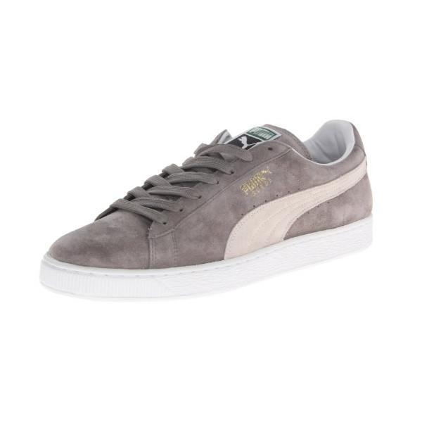PUMA Suede Classic+ Sneaker,Steeple Gray/White,12.5 M US Women's/11 M US Men's