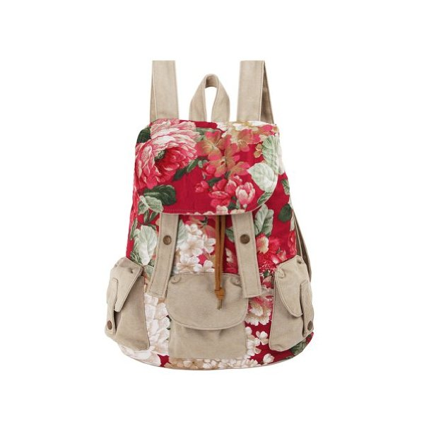 ZLYC Ethnic Floral Print Canvas Backpack