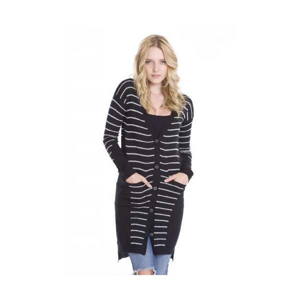 Women's Alpine Long Sleeve Up Black White Cardigan Sweater by One Grey Day-L
