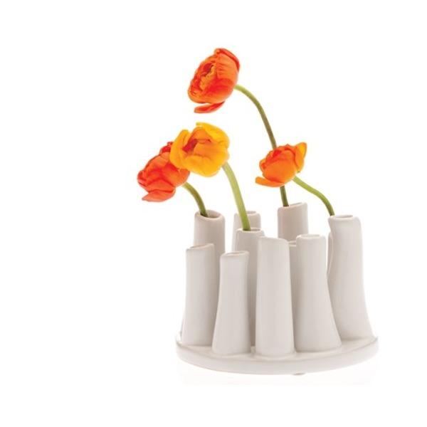 Chive, Pooley 2, Round, White  Vase