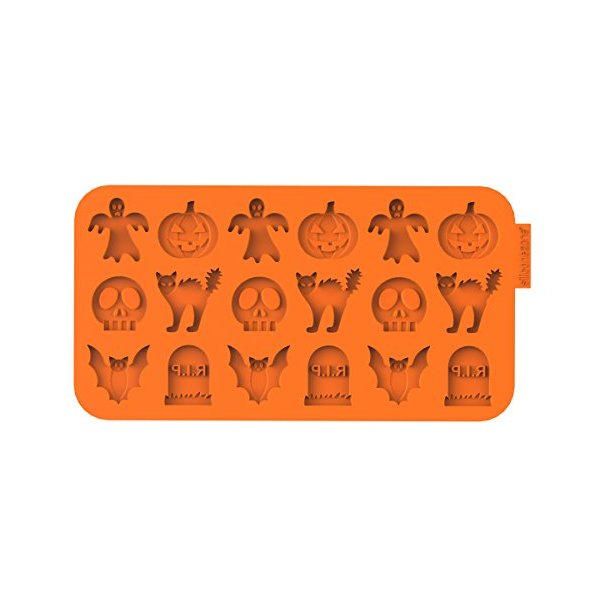 "Siliconezone Chocochips Collection 8.9"" Non-Stick Silicone Halloween Mold, Orange"