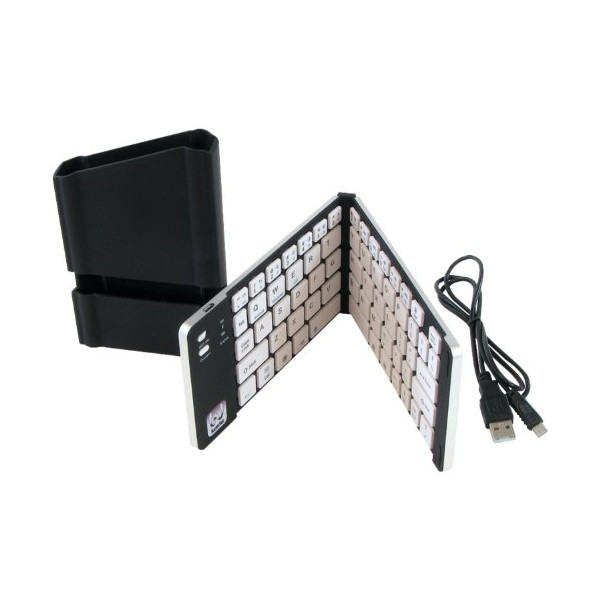 iWerkz Universal Foldable Bluetooth Keyboard, Black/White (44652BW)