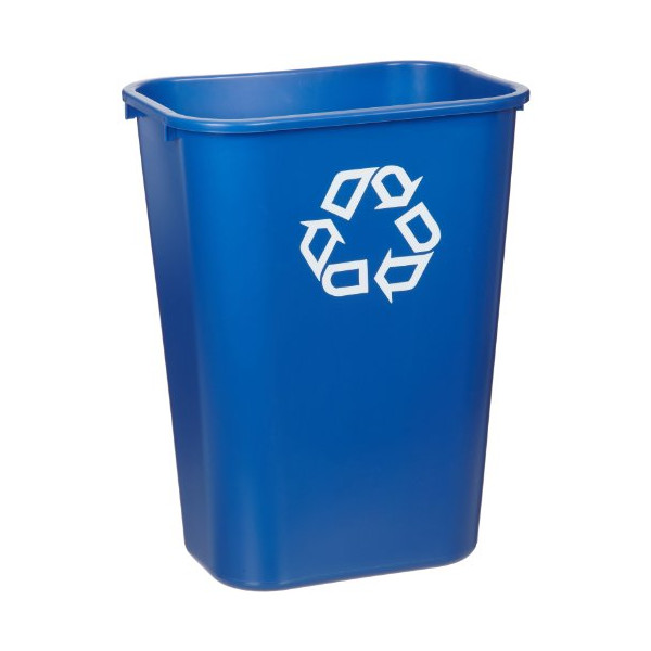 "Rubbermaid Commercial 41-1/4 Quart Large Deskside Recycling Container with Universal Recycle Symbol, Rectangular, 11"" Width x 15.25"" Depth x 19.9"" Height, Blue"