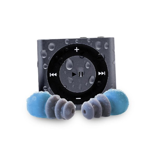 Waterfi 100% Waterproof MP3 Player Swim Kit With Dual Layer Technology - Waterproof Headphones Included - No Case Needed - (Slate)