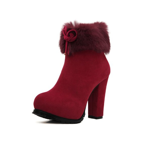 G Antini Women Round Toe Chunky Heels Zip Up Side Platform Ankle Boots