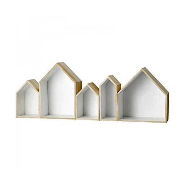 Block of Storage Boxes in Natural and White - Set of Five