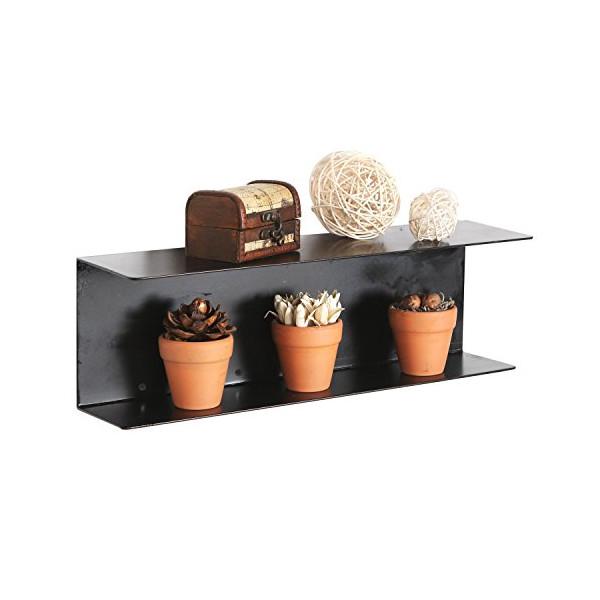 Modern Minimalist Black Metal Wall Mounted 17 inch Floating Shelves / Hanging Storage Rack Supply Shelf
