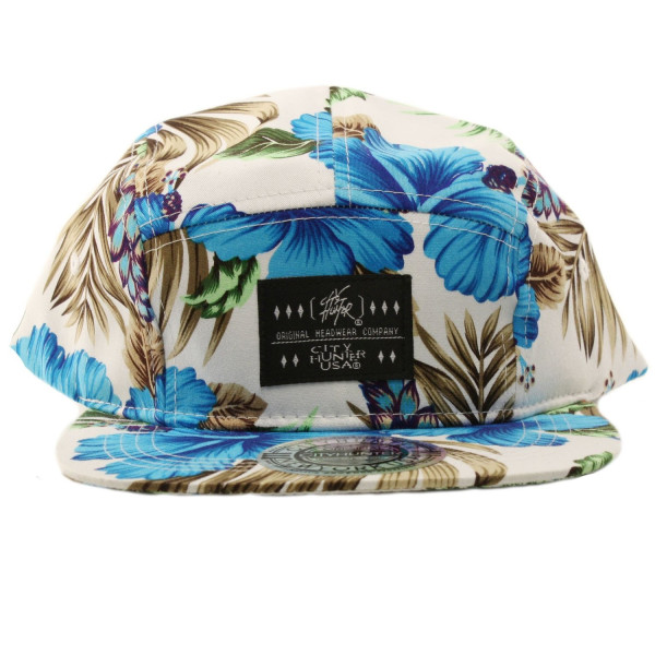 Summer Maui Print 5 Panel Snapback Biker Cycle Cadet Cap Hat Adjustable Wht Blue