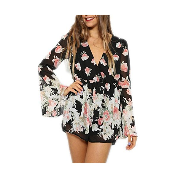 Persun Women Limited Black Floral Print Romper Playsuit With Long Flare Sleeves