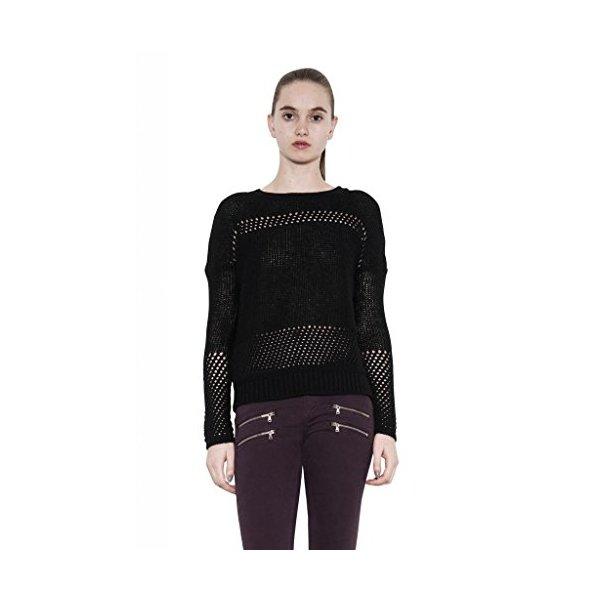 Dana Long Sleeve Wool Mohair Black Pointelle Hole Sweater Women One Grey Day-L