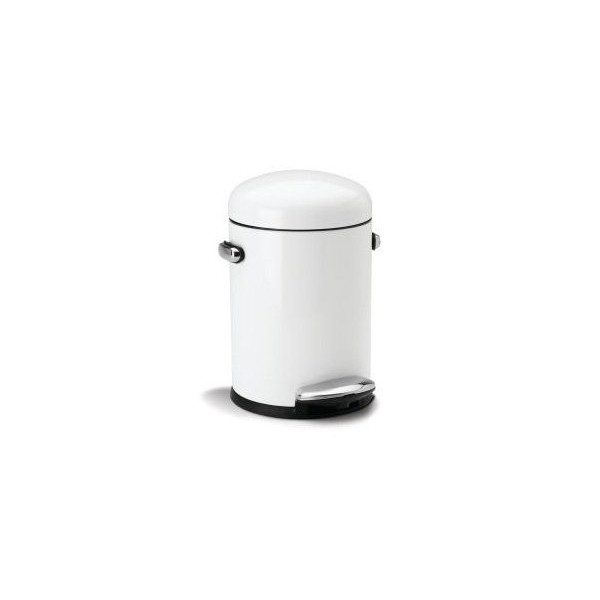 simplehuman Round Retro Step Trash Can, White Steel, 4.5 L / 1.2 Gal