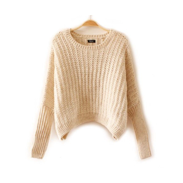 ZLYC Long Sleeve Solid Color Casual Christmas Short Sweater For Women (Apricot)