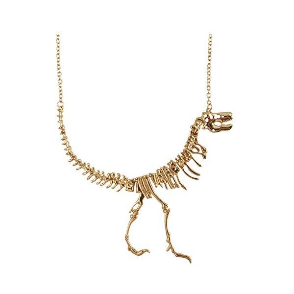 Jane Stone Color Gold Dinosaur Vintage Necklace Short Collar (Fn1415-Gold)