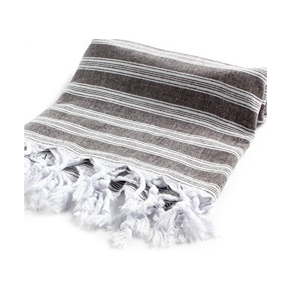 "Cacala Light Pestemal Turkish Towel for Bath/Hamam/Unisex, 37 x 70"", Black"