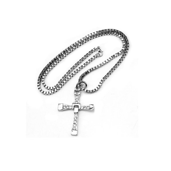 "Fashion Furious Brave Mens Cross Pendant Necklace Chain Crystal Silver 24"" Cool"