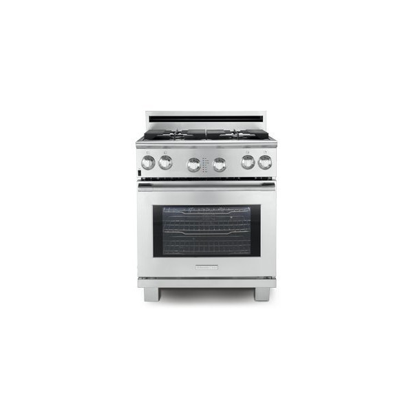 "Professional 30"" Wide Pro-Style Gas Range 4 Sealed Burners 4.2 cu. ft. Oven Capacity European Convection System Smooth-Glide Oven Racks: Stainless"