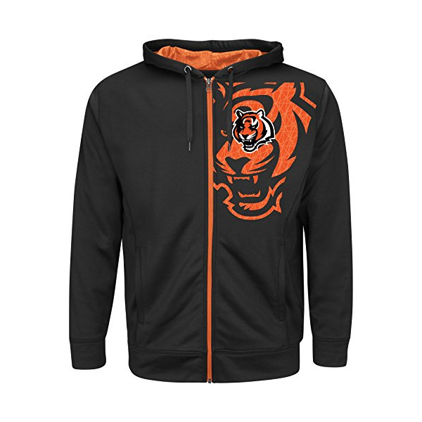 Cincinnati Bengals Majestic NFL Coverage Sack IV Full Zip Hooded Sweatshirt