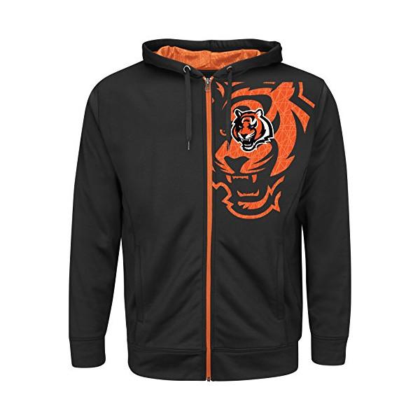Cincinnati Bengals Majestic NFL Coverage Sack IV Full Zip Hooded Sweatshirt