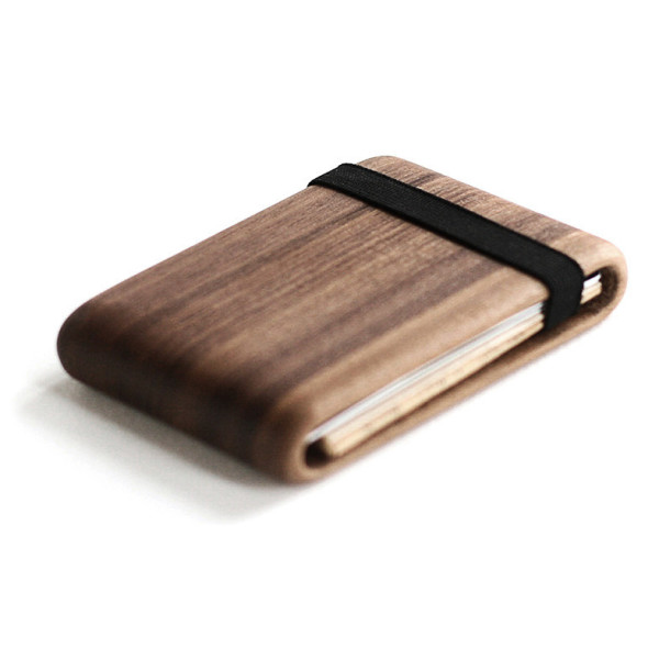 Wood Wallet, Walnut Wood with Elastic Band