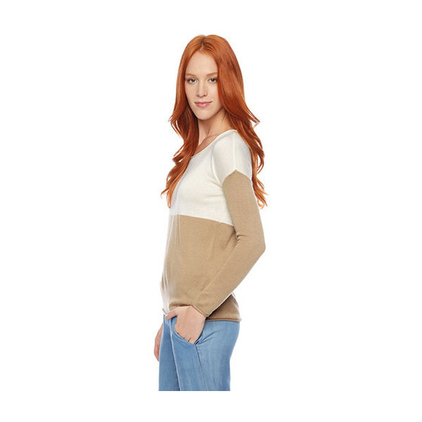 Splendid Women's Cashmere Blend Sweater, Cream/Camel, X-Small