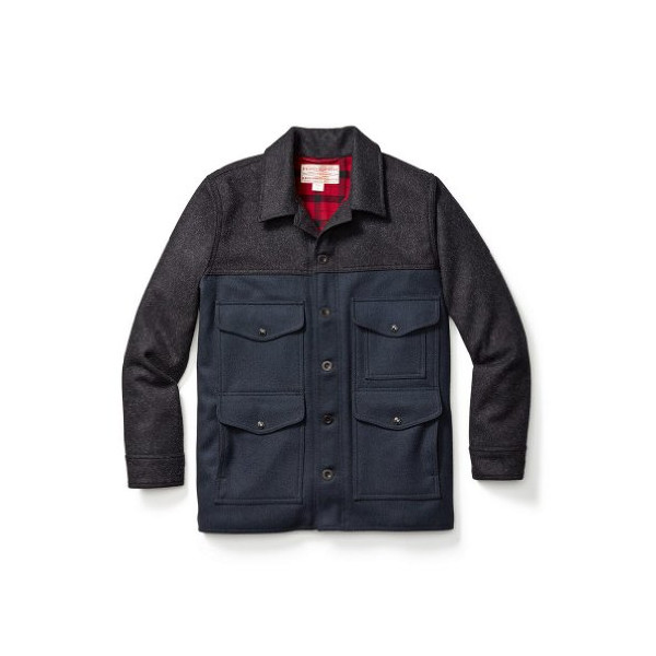 Filson 10405 Lined Seattle Mackinaw Wool Cruiser (X-Large, Charcoal/Navy/Red Plaid)