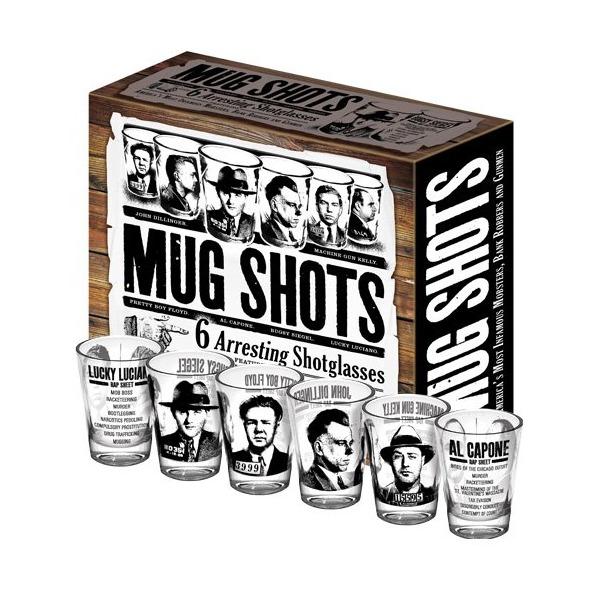 Mug Shots - Shot Glass Set Featuring Famous Gangsters