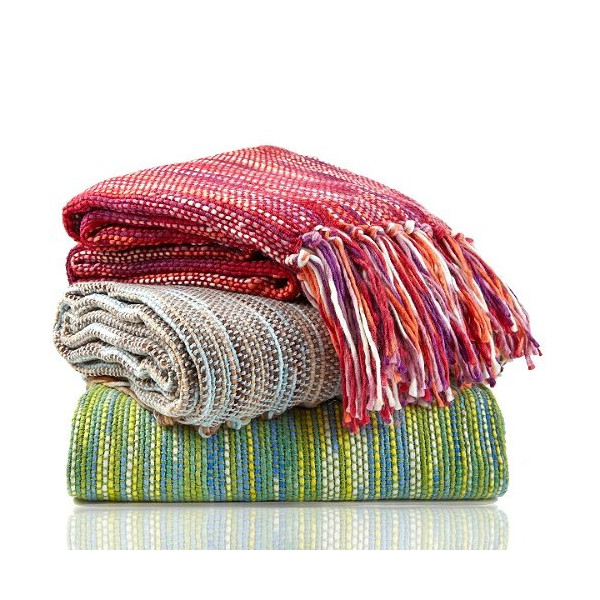 Jonathan Adler Knitted Fringed Throw Blanket - Red